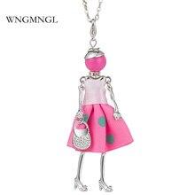 WNGMNGL Brand New Arrival Charm Cloth Dress Handbag Cute Doll Pendant Long Chain Necklace For Women 2018 Fashion Jewelry Gift