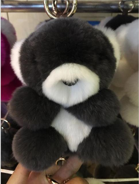 3PCS/LOT 18CM New Fashion Cute Real Seto rabbit Fur Koala bear Ball Plush Keychain Car Key Chain  Ring for Bag Pendant