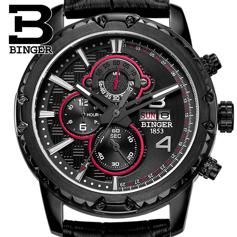 Watches Men Luxury Original Brand BINGER Sport Watches Men Fashion wristwatch Chronograph waterproof Male leather Quartz watch