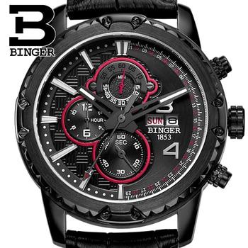 Watches Men Luxury Original Brand BINGER Sport Watches Men Fashion wristwatch Chronograph waterproof Male leather Quartz watch