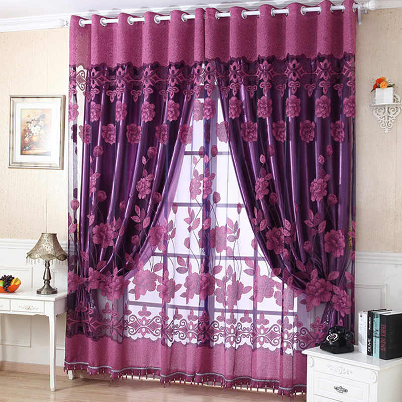 Stylish Flower Tulle Door Window Curtain Drape Panel Sheer Scarf Valances 4 Colors Living Room Curtain One Piece