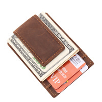 Men money clips vintage genuine leather front pocket clamp for bill cash holder magnet magic money clip wallet with card ID Case