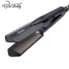 High Quality Titanium Hair Waves Iron Digital Display Volume For Corrugated prykornevoho Wide Plates Hair Crimping tohuan hair corrugated iron lcd digital display wide plates corrugated shape waving corrugation beauty hair iron styling tools