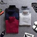 2015 hombres suéter de marca Top alta invierno hombre moda suéter suéter de punto suéteres de lana para hombre jersey de cuello alto negro regalos