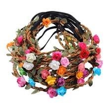 Candygirl Floral Crown Headband for Women Girls Bohemian Beach Rose Flower Hairbands Bridal Garland Wedding Hair Accessories