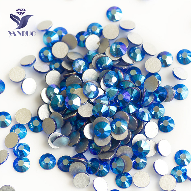 YANRUO 2058NoHF All Sizes Sapphire AB Strass Crystals And Stones Flatback  Non Hot Fix Nail Art 6710ca8b0719