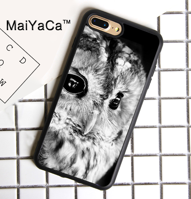 MaiYaCa Snow Owl Bird Printed Rubber Case For Apple iPhone 7 Plus Cover Case For iPhone 7 Plus Soft TPU Protective Shell