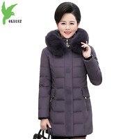 Новый среднего возраста Для женщин парки Зимняя хлопковая куртка пуховик Теплая куртка Большие размеры 5XL женский меховой воротник парки с