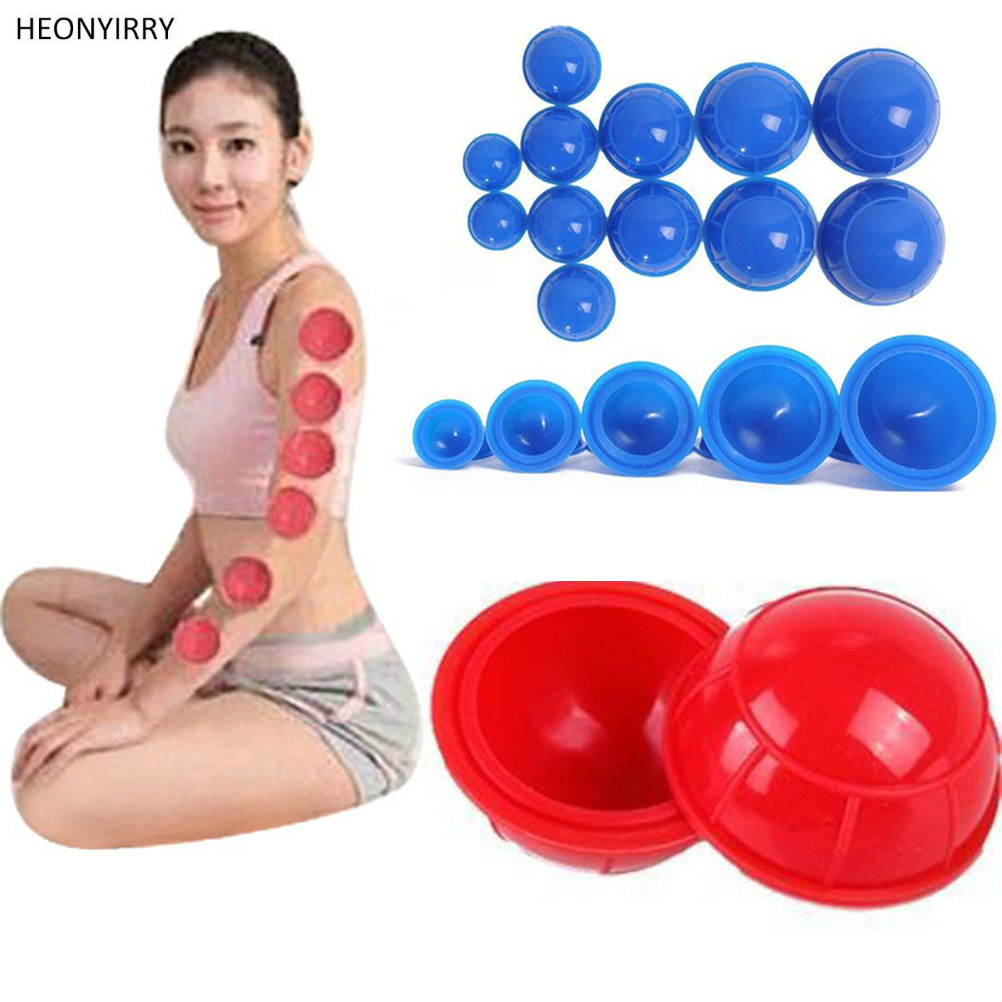 12pc Silicone Suction Cup Medical Vacuum Health Care Tool Silica Gel Cupping Device Hygroscopic Slimming Body Pull Gas Cylinders