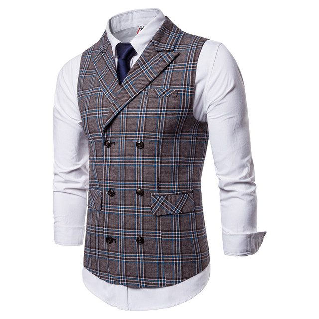 FFXZSJ 2018 New Men's Business Casual Vest Plaid Vest Men's High Quality Large Size Jacket Sleeveless Vest Style Slim Fit