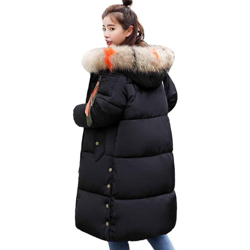 2019 Warm Thicken Women Winter Jacket Hooded With Colorful Fur Womens Jackets Outwear Cotton Padded Female Coat Long Parka