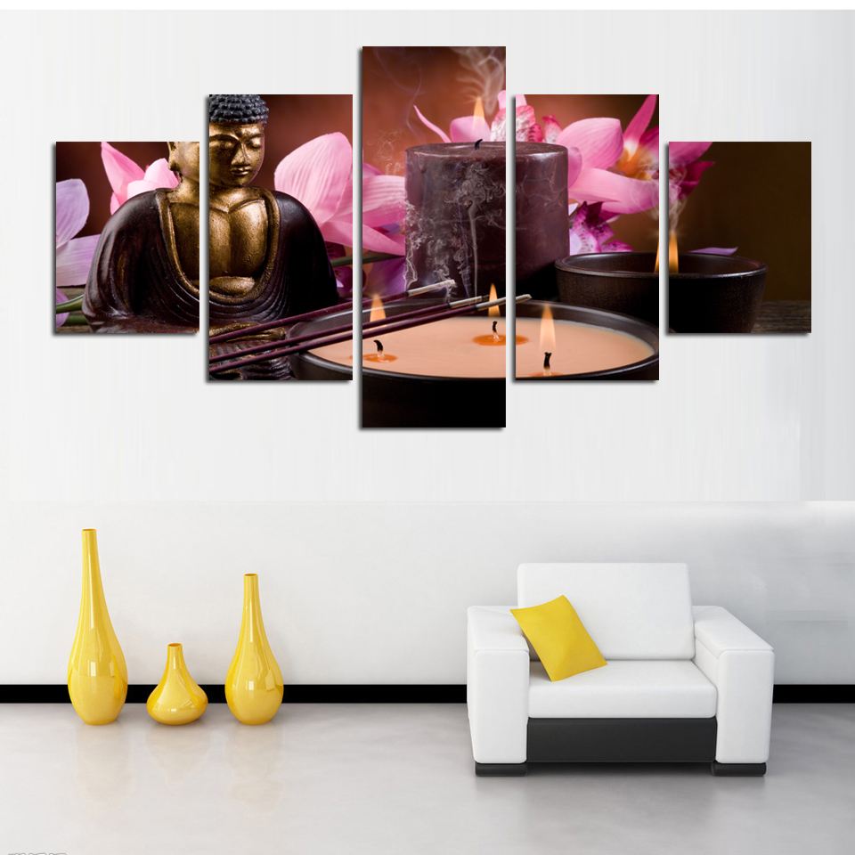 5 Piece Canvas Art Modern Printed Buddha Painting Picture Paintings ...