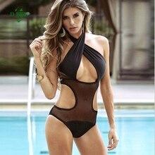 8859839041 Maillot de bain femme une pièce Sexy croisement Monokini noir grille Trikini  maillot de bain femme