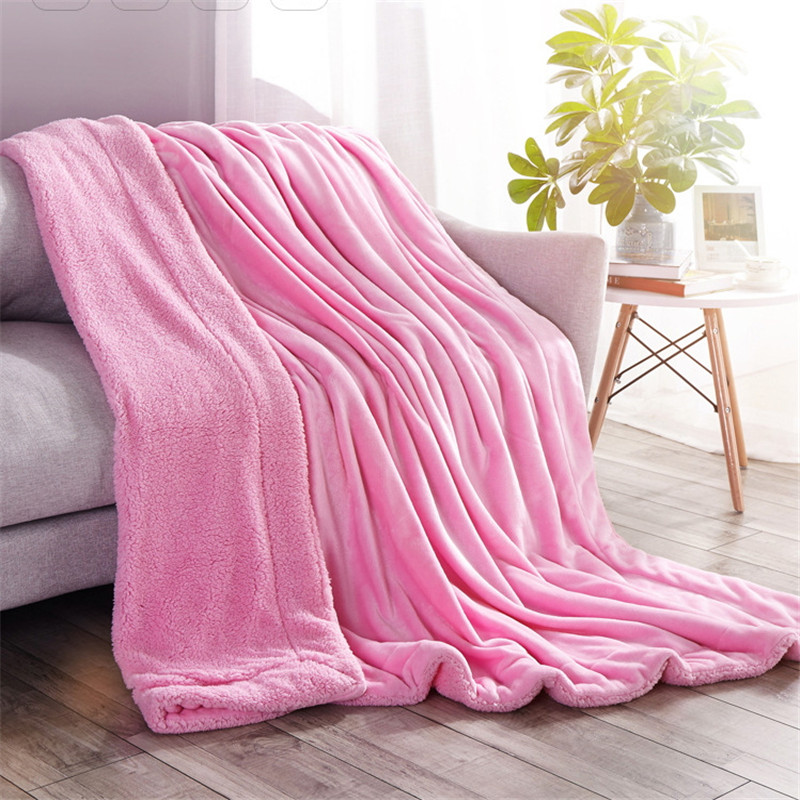 Pure color Cashmere Blanket 200*230 Thick Blankets Double Coral Fleece Bed Sheet Sofa Throws Blanket Children Quilt Cobertor