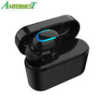 AMTERBEST Q26 Wireless Bluetooth Headset HiFi Stereo Earphone Earbuds Earpiece MIC Charging Box Case for IPhone 5/6/7/8 Xiaomi(China)