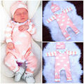 2016 Newborn Baby Boys Girls Clothes Long Sleeve Romper Jumpsuit Hat Outfits Clothes 2pcs