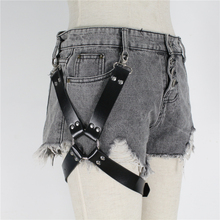 2019 New Harajuku Gothic Witchy Rave Holographic Fetish Leg Belt Leather Harness Body Bondage Stocking Suspender Women Punk