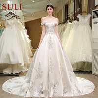 SL 83 Designer Wedding Gowns Satin Embroidered Hollow Out Lace Pearls Bling Bridal Gowns Modest Corset