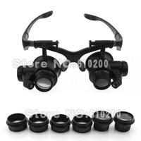 Бесплатная доставка LED повязка увеличительное очки типа бинокулярного лупой 10X 15X 20X 25X для часы pcb Рабочая ремонт