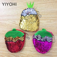 Bling Sequin Double Color Strawberry Coin bag Wallet Change Purse Zip Round Clutch Earphone Cable Storage Holder Small Keys Bag