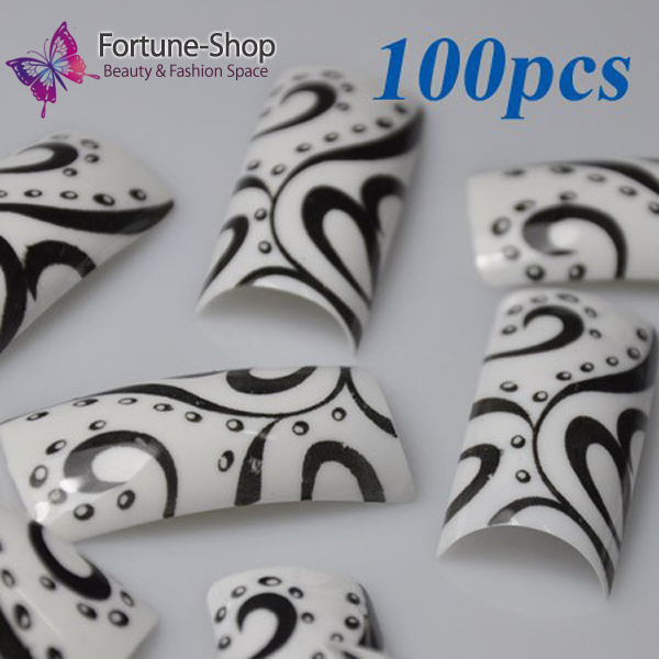100pcs Pack Beauty Acrylic Nail Tips Black White Pre Design Plastic Art Tip False French New F165 In Nails From