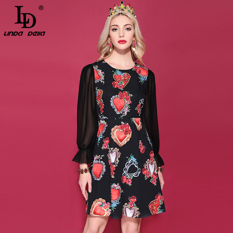 LD LINDA DELLA 2019 Spring Summer Fashion Runway Vintage Dress Women s Long Sleeve Retro Floral