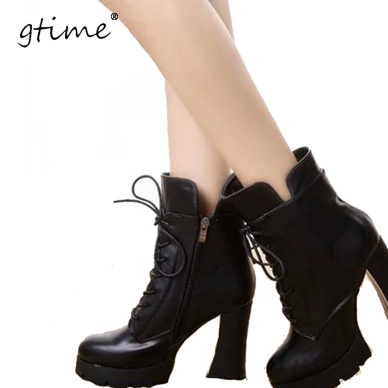 GTIME Brand New Winter Women Black High Heel Martin Boots Buckle Gothic Punk Ankle Combat Boots