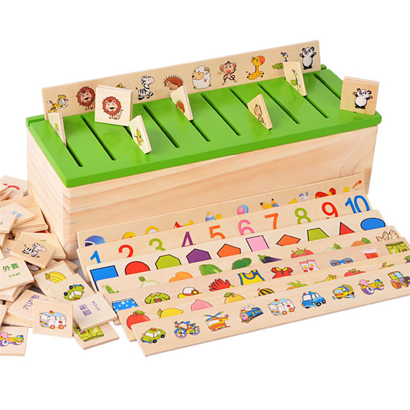 Baby Toy Montessori Wooden Teaching Three Color Sorting Array Game For Early Childhood Education Preschool Training Learning