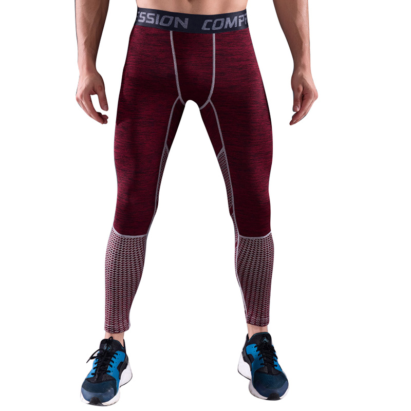 CALOFE Men Running Pants Gym Compression Bodybuilding Fitness Tight Sportswear For Men Sports Pants Training Tights