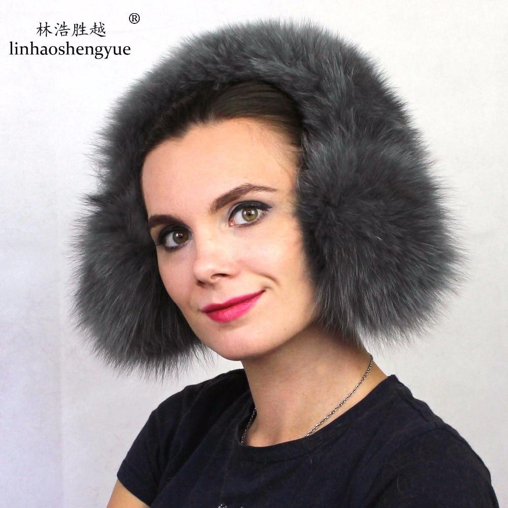 Linhaoshengyue  100% Real Fox Fur Ear Cover Fashion Warm Winter  For Man And Women