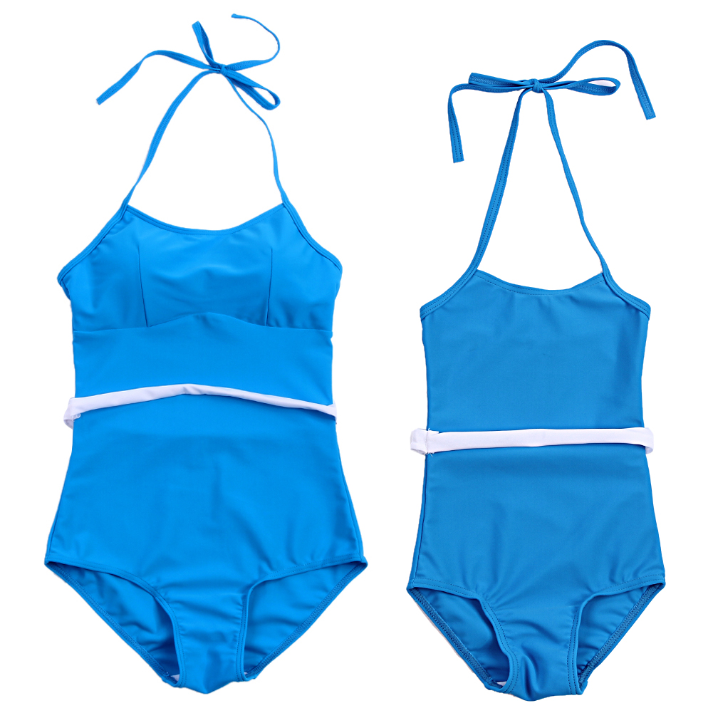 Mother and Daughter Swimsuit One Piece Bikini Swimsuit Padded for Mom Bikini Monokini Beachwear Mom Child Family Match Blue