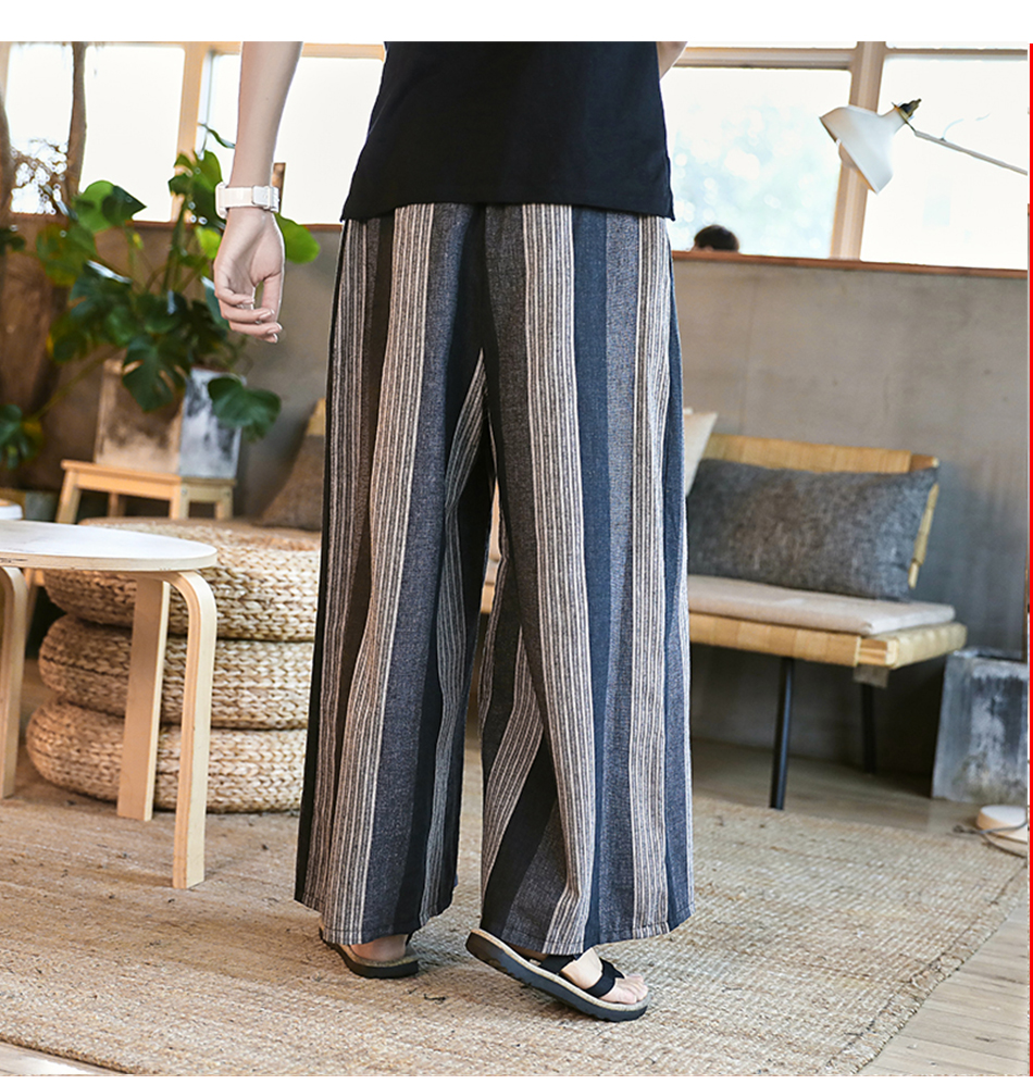 Sinicism Store Man Cotton Linen Wild Leg Pant Men Casual Stripe Straight Flare Trousers 2020 Male Traditional Pants Trousers 37
