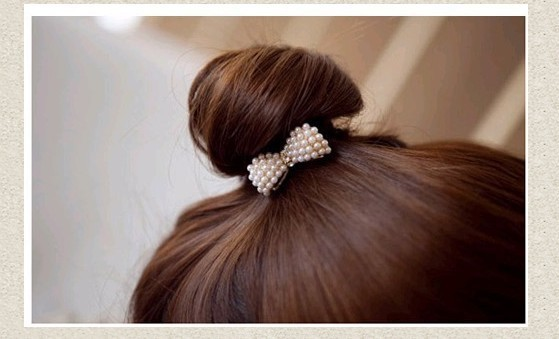 TS054 New Style Hair Ornaments Full Imitation Pearl Bowknot Elastic Head Accessories