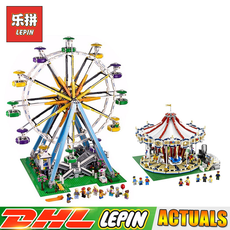 LEPIN 15013 City Street Grand Carousel 15012 Ferris Wheel Blocks Compatible LegoINGlys 10196 10247 Bricks Toys Gifts lepin 15013 city street carousel model building kits assembling blocks toy legoing 10196 educational merry go round gifts