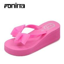 2016 Summer Bownot Shoes Women Sandals Sapato Feminino Beach Wedge Flip Flops Women Slipper Shoes Sandalias Mujer 124
