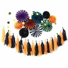 Sunbeauty 11pcs Halloween Party Decoration Black Orange DIY Set Haunted House Decorations for Home Supplier