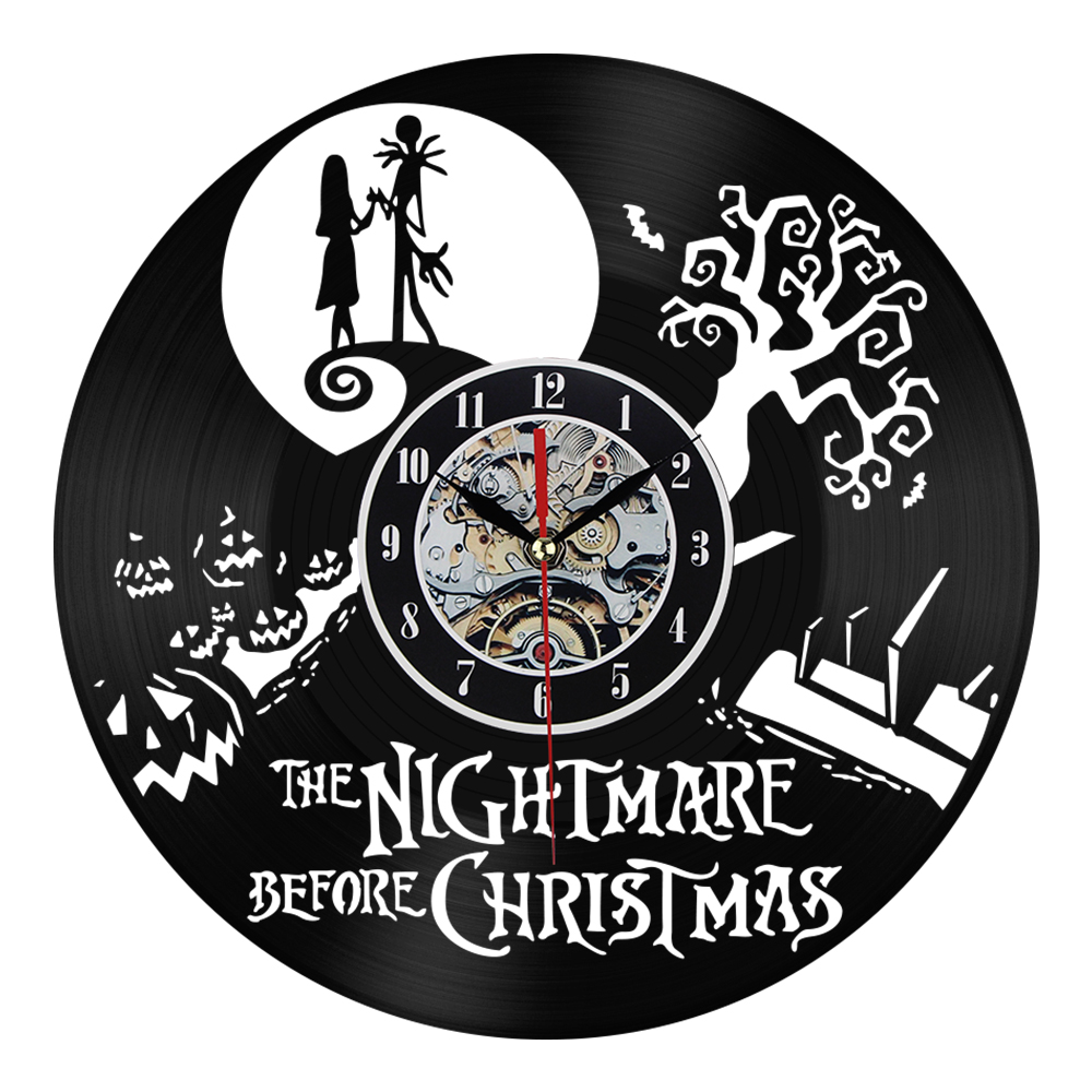 buy the nightmare before christmas black vinyl record clock creative cd wall. Black Bedroom Furniture Sets. Home Design Ideas
