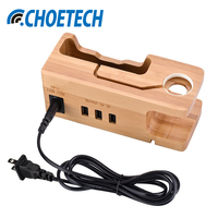CHOETECH Universal Bamboo Wood 3 Ports USB Charger Mobile Phone Charging Stand For Iphone Watch Smartphones