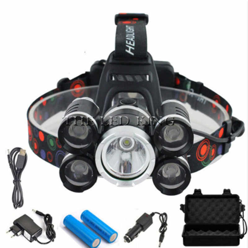 50000 ルーメンの Led ヘッドライト 5 * T6 ズーム Led ヘッドランプ懐中電灯トーチヘッドライトランプ + 2*18650 バッテリー + AC/車/USB 充電器