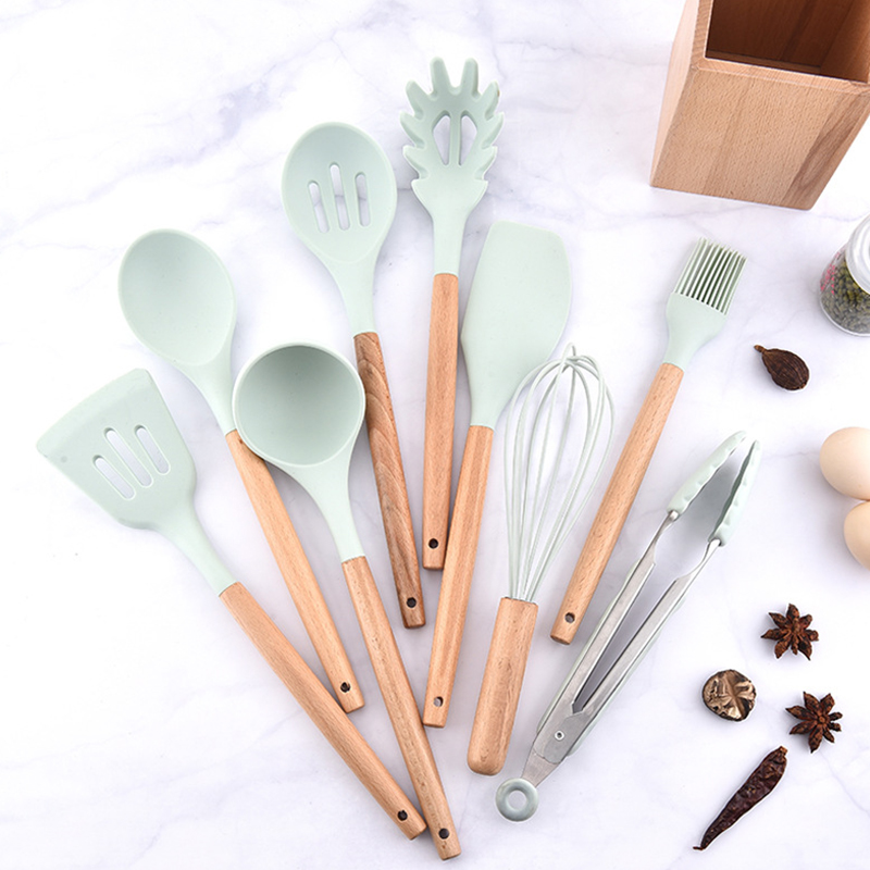 9pcs Kitchen Utensil Cooking Set Silicone Stainless Steel Wooden For Pots Pans
