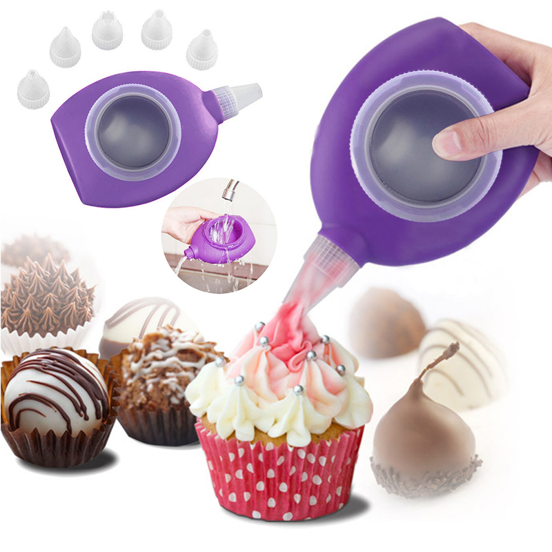 Fashion Design Kitchen Tools Silicone Macaron Cake Tools Icing Piping Decorating Pen 6 Nozzles Set Kit