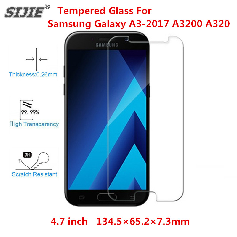 Tempered Glass For Samsung Galaxy A3 2017 A3200 A320 4 7 inch anti scratch Explosion proof Ultrathin High definition HD Screen in Phone Screen Protectors from Cellphones Telecommunications