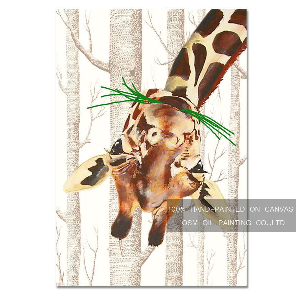Funny Design Skills Artist Hand-painted High Quality Modern Animal Giraffe Oil Painting  ...