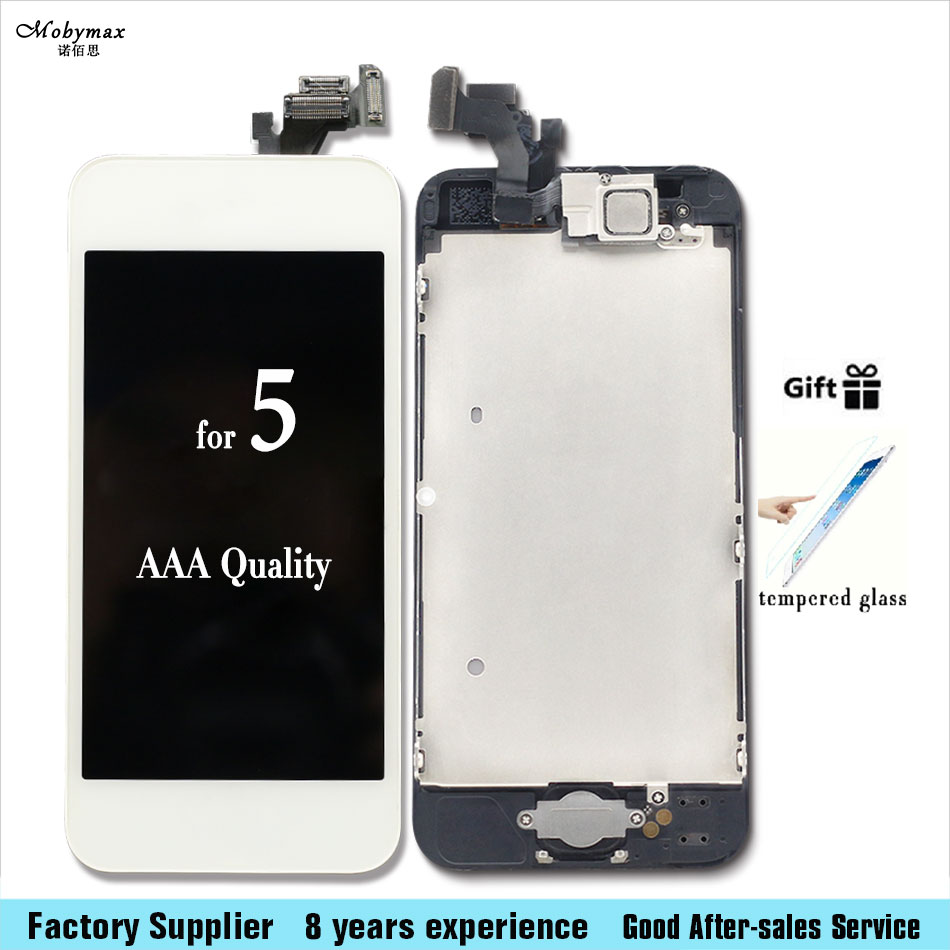 Camera Home Button Black White LCD Touch Screen Digitizer Assembly display for iPhone 5,5C,5S,6S,6splus+Tempered film