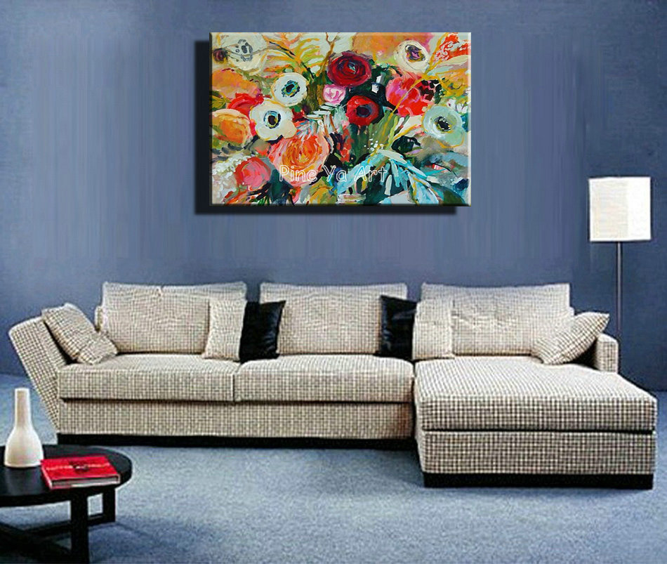 Famous artist acrylic paint living room abstract modern canvas art handmade decorative flower for Best paintings for living room