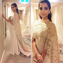 Champagne Mermaid Arabic Evening Dresses With Lace Cape 2016 Formal Gowns robe de soiree Mother of the Bride