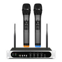 New Arrival Top Quality Microphone for Stage PLL True Diversity UHF MIC Wireless System with Dual Handheld Wireless Microphone