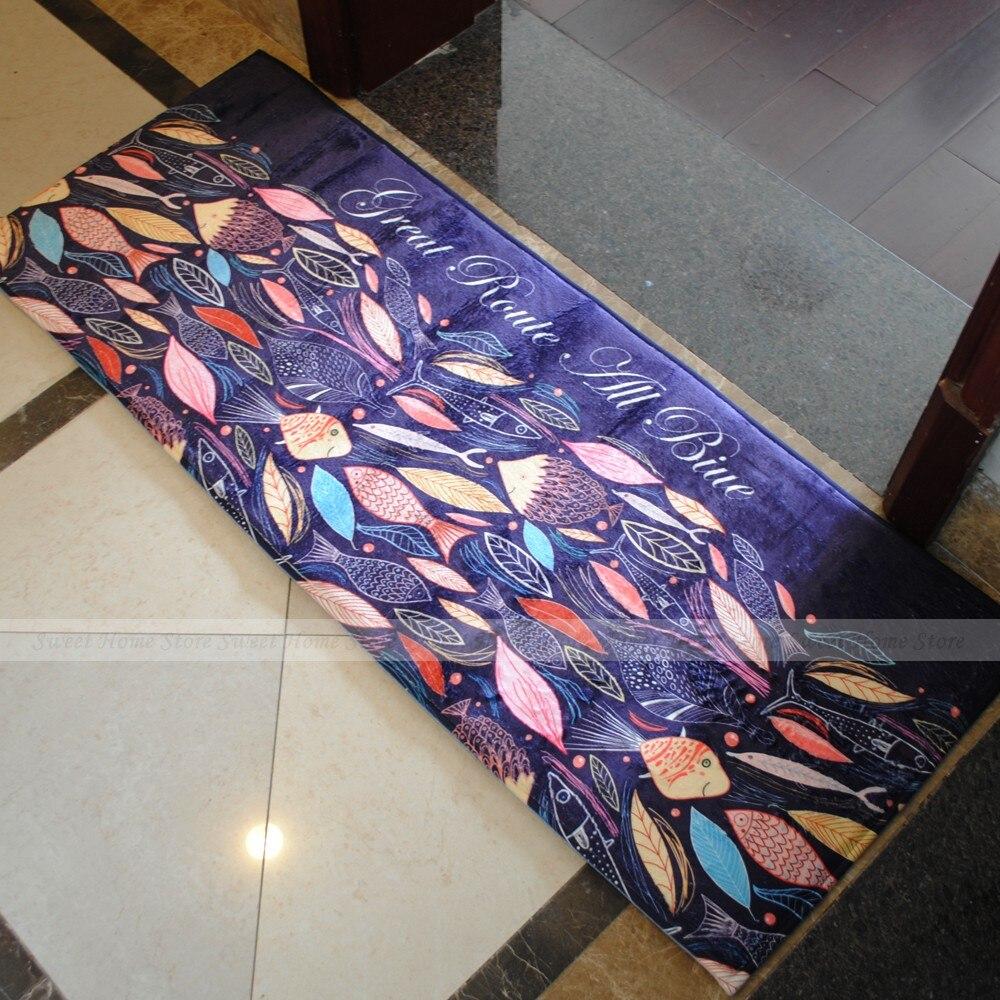 Yazi Blue Fish Kitchen Rug Soft Plush Colorful Floor Mat