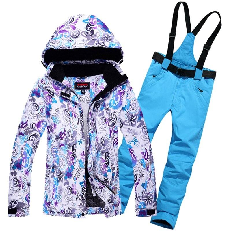 Mujer térmica impermeable a prueba de viento de montaña Fleeced relleno  chaquetas y pantalones traje deportes de invierno esquí ropa 3a5a40d1bfc