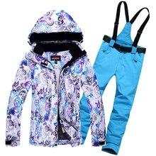 Thermische Frau Wasserdicht Winddicht Mountain Fleeced Polsterung Ski Jacken und hosen Anzug Winter Sport Skifahren Kleidung Sets